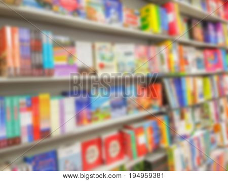 Abstract blur of  book on bookshelves in bookstore