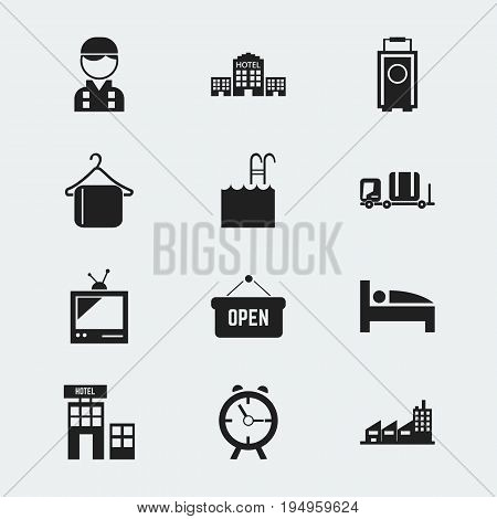 Set Of 12 Editable Motel Icons. Includes Symbols Such As Opened Placard, Pool, Tv And More. Can Be Used For Web, Mobile, UI And Infographic Design.