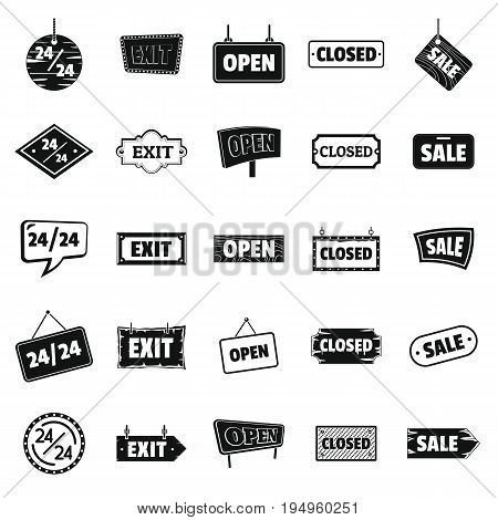 Signboards with text Design Elements icons Set in silhouette style. Billboard Signage Light Bulbs, Frames, Arrows, For advertising, Poster Retro Sign. Vector Illustration.