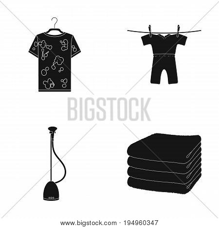 Vacuum cleaner, a stack of cloth, dirty and clean things. Dry cleaning set collection icons in black style vector symbol stock illustration .