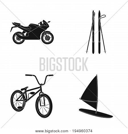 Motorcycle, mountain skiing, biking, surfing with a sail.Extreme sport set collection icons in black style vector symbol stock illustration .