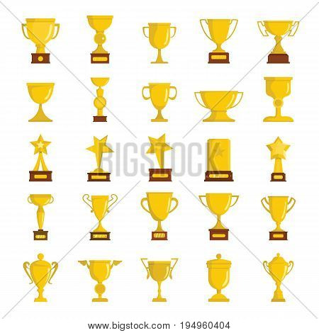 Gold cup awards icons collection in cartoon style isolated on white background. Elements for cup awards design and web