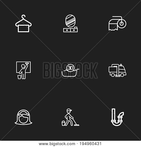 Set Of 9 Editable Cleanup Icons. Includes Symbols Such As Siphon, 30 Degrees, Housemaid And More. Can Be Used For Web, Mobile, UI And Infographic Design.