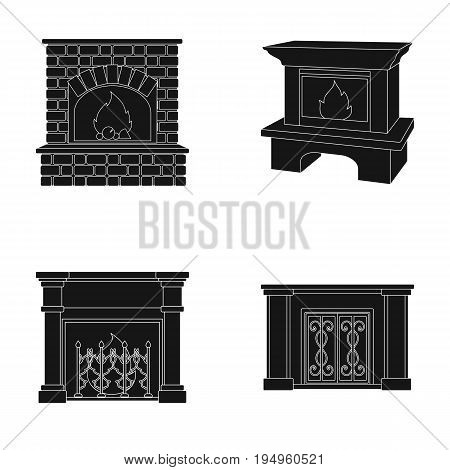 Fire, warmth and comfort.Fireplace set collection icons in black style vector symbol stock illustration .