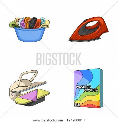 A bowl with laundry, iron, ironing press, washing powder. Dry cleaning set collection icons in cartoon style vector symbol stock illustration .