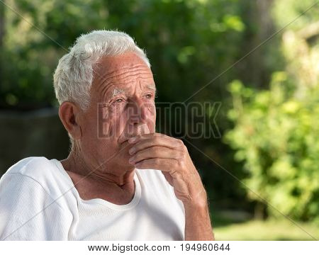 Thoughtful Old Man In Park