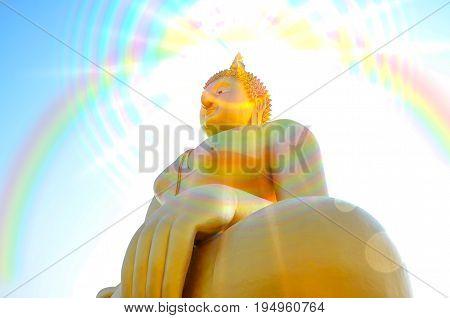 Big Buddha in Thailand on Gradient background