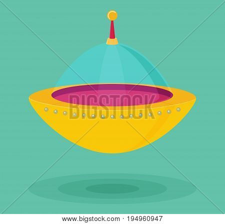 Spaceship icon in flat vector for design