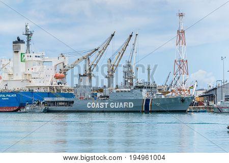 Port Louis Mauritius - December 25 2015: Offshore patrol vessel MCGS Barracuda of Coast Guard Mauritius in Port Louis Mauritius.