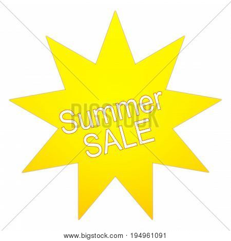 yellow Summer Sale on white background - illustration
