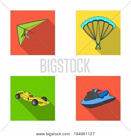 Hang glider, parachute, racing car, water scooter.Extreme sport set collection icons in flat style vector symbol stock illustration .