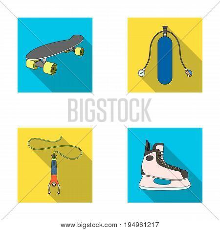 Skateboard, oxygen tank for diving, jumping, hockey skate.Extreme sport set collection icons in flat style vector symbol stock illustration .