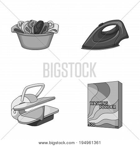 A bowl with laundry, iron, ironing press, washing powder. Dry cleaning set collection icons in monochrome style vector symbol stock illustration .