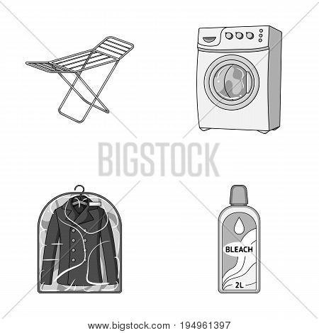 Dryer, washing machine, clean clothes, bleach. Dry cleaning set collection icons in monochrome style vector symbol stock illustration .