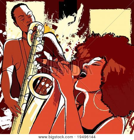 Vector illustration of an afro american jazz singer on grunge background and saxophonist