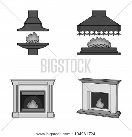 Fire, warmth and comfort.Fireplace set collection icons in monochrome style vector symbol stock illustration .