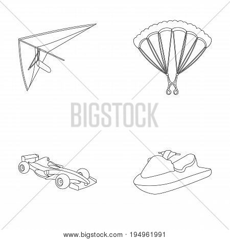 Hang glider, parachute, racing car, water scooter.Extreme sport set collection icons in outline style vector symbol stock illustration .