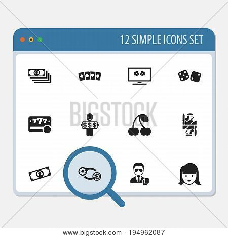 Set Of 12 Editable Gambling Icons. Includes Symbols Such As Gambling Cube, Backgammon, Moneys And More. Can Be Used For Web, Mobile, UI And Infographic Design.