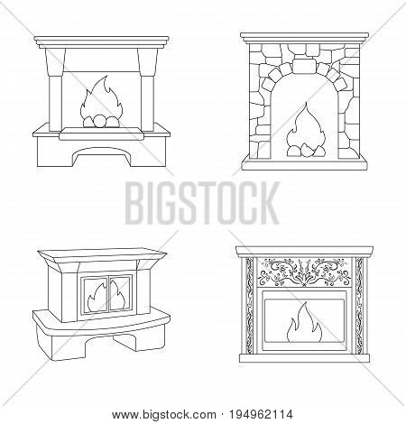 Fire, warmth and comfort.Fireplace set collection icons in outline style vector symbol stock illustration .