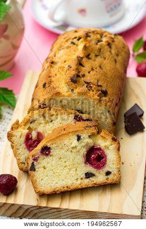 Sweet moist cake with chocolate and raspberries