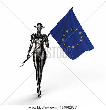 3D illustration. The stylish cyborg the woman with flag of European Union. Futuristic fashion android.