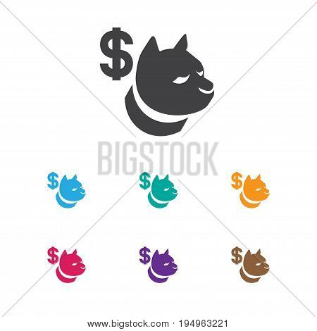 Vector Illustration Of Excitement Symbol On Dog Fighting Bet Icon. Premium Quality Isolated Canine Fighter Element In Trendy Flat Style.