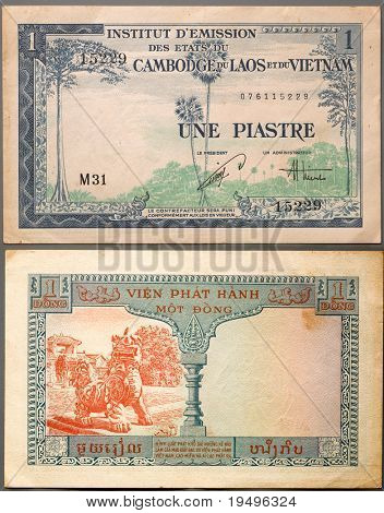 Old one french indochina piastre (recto verso)