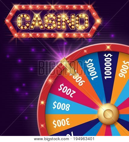 Internet casino vector background with spinning fortune wheel. Vector illustration EPS 10