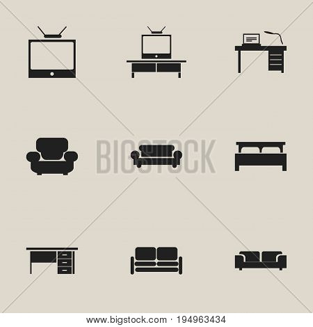Set Of 9 Editable Interior Icons. Includes Symbols Such As Canape, Television, Bearings And More. Can Be Used For Web, Mobile, UI And Infographic Design.