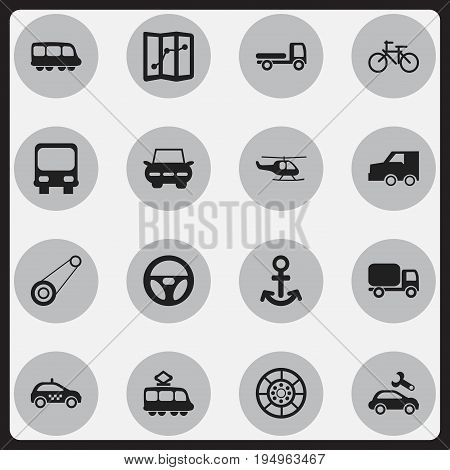 Set Of 16 Editable Shipment Icons. Includes Symbols Such As City Drive, Suv, Wheel And More. Can Be Used For Web, Mobile, UI And Infographic Design.