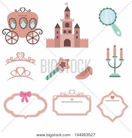Set of princess design elements. Princess theme with castle, crown, carriage