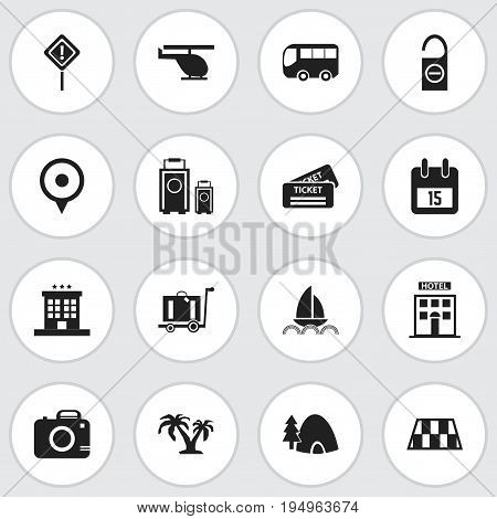 Set Of 16 Editable Journey Icons. Includes Symbols Such As Photo Cam, Barrier, Luggage And More. Can Be Used For Web, Mobile, UI And Infographic Design.