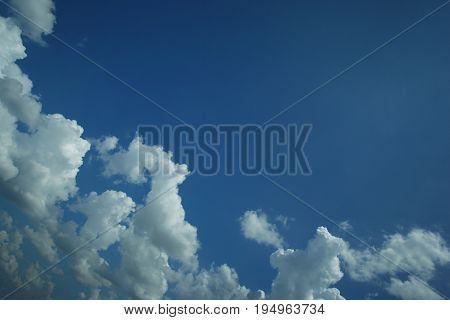 Blue sky and white cloud above Pekanbaru city