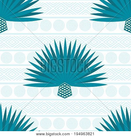 Abstract vector background with maguey. Seamless pattern with blue agave cactus