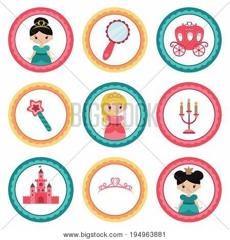 Set of tags with princess theme. Cupcake toppers for Birthday.