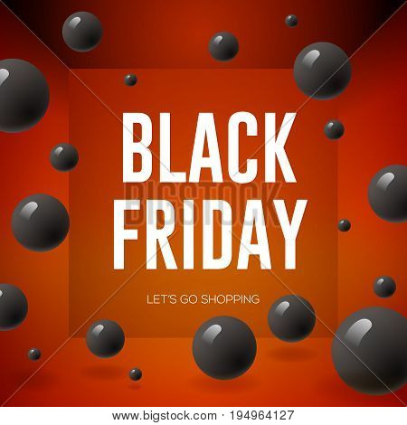 Black Friday Sale poster with shiny balloons on red background, vector illustration.