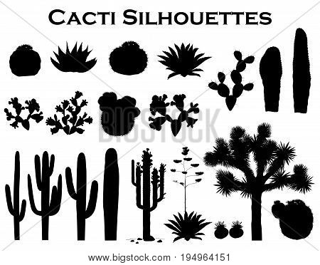 Black silhouettes of cacti agave joshua tree and prickly pear. Vector collection