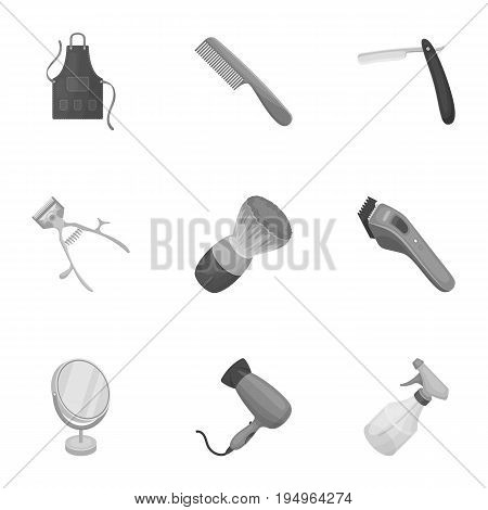 Male barber, symbol, clipper and other equipment for hairdressing.Barbershop set collection icons in monochrome style vector symbol stock illustration .