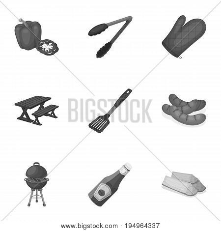 Meat, steak, firewood, grill, table and other accessories for barbecue.BBQ set collection icons in monochrome style vector symbol stock illustration .