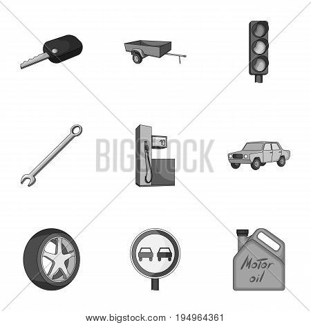 Wheel, wrench, jack and other equipment. Car set collection icons in monochrome style vector symbol stock illustration .