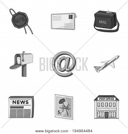 Postman, envelope, mail box and other attributes of postal service.Mail and postman set collection icons in monochrome style vector symbol stock illustration .