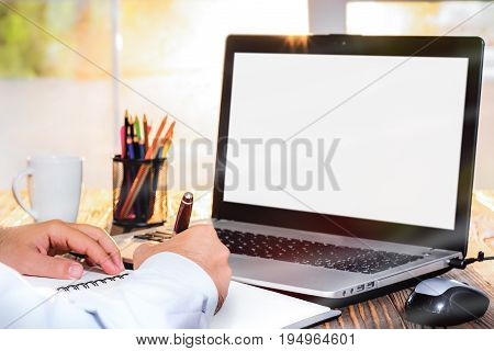 Laptop Computer Monitor With White Screen In Office Clean Available Copy Space