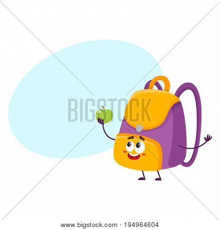 Cute and funny school bag, backpack character with smiling human face holding an apple, cartoon vector illustration with space for text. Smiling student bag, backpack character, mascot