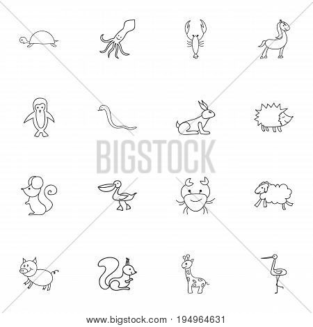 Set Of 16 Editable Zoo Icons. Includes Symbols Such As Serpent, Tentacle, Swine And More. Can Be Used For Web, Mobile, UI And Infographic Design.
