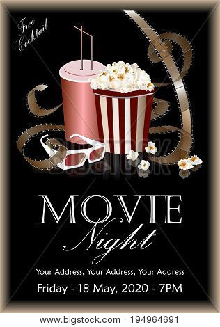 Popcorn box with cola and 3D glasses on the background screen cinema. Movie poster banner or flyer. Vector illustration
