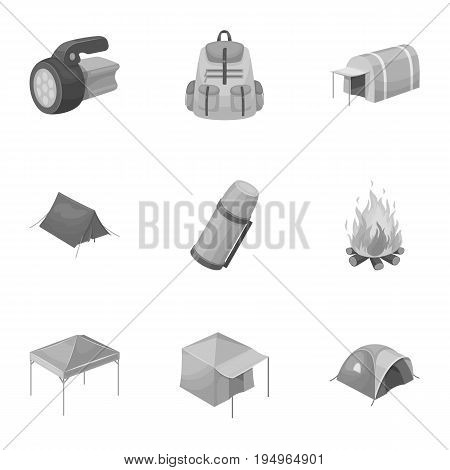 Various kinds of tents and other tourist accessories. The tent set collection icons in monochrome style vector symbol stock illustration .