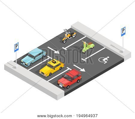 Transport isometric composition with parking area section traffic signs asphalt markings cars and bicycles with shadows vector illustration
