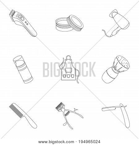Male barber, symbol, clipper and other equipment for hairdressing.Barbershop set collection icons in outline style vector symbol stock illustration .