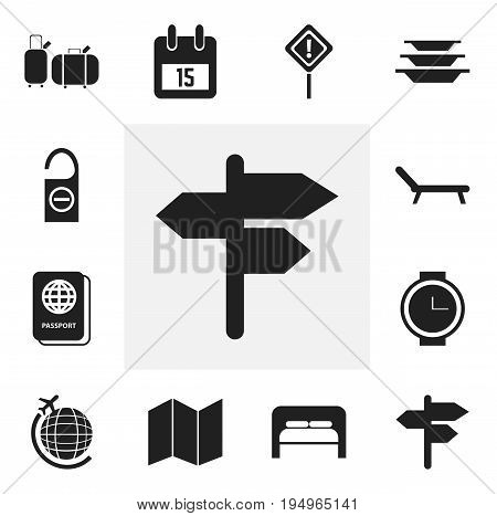 Set Of 12 Editable Trip Icons. Includes Symbols Such As Suitcases, Road Guidance, Wristwatch And More. Can Be Used For Web, Mobile, UI And Infographic Design.