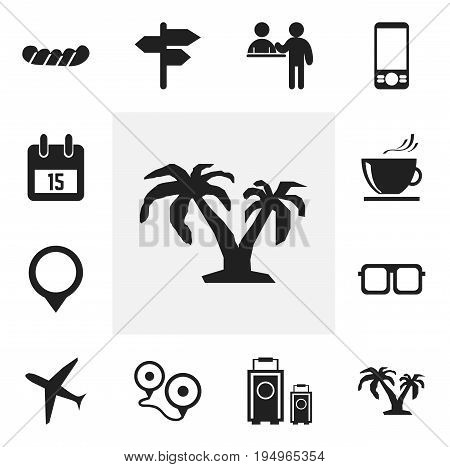 Set Of 12 Editable Holiday Icons. Includes Symbols Such As Pin, Eyeglasses, Date Block And More. Can Be Used For Web, Mobile, UI And Infographic Design.